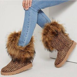 Asymmetrical Cheetah Print Faux Fur Boots